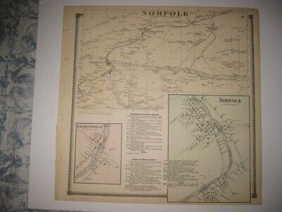 Vintage Antique 1865 Norfolk St Lawrence County New York Handcolored Map Rare Nr