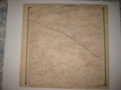 Vintage Antique 1865 Lisbon St Lawrence County New York Handcolored Map Rare Nr