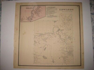 Vintage Antique 1865 Edwards St Lawrence County New York Handcolored Map Superb