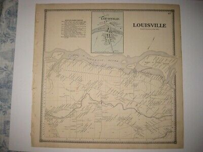 Vintage Antique 1865 Louisville St Lawrence County New York Handcolored Map Rare
