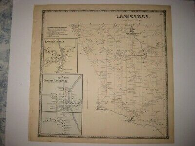 Vintage Antique 1865 Lawrence St Lawrence County New York Handcolored Map Rare