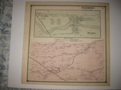 Vintage Antique 1865 Madrid St Lawrence County New York Handcolored Map Superb N