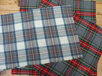 """Lot of 100% Wool """"Felted"""" Gray Plaids Odds & Ends ~ Rug Hooking, Penny Rug"""
