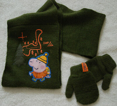 Peppa Pig Camp Campus Scarf & Mittens Set Dark Green 1-3 YRS from George