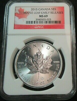 2015 Canada Maple Leaf Early Releases 1 Oz Silver Five Dollar Coin - Ngc Ms 69
