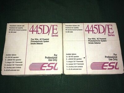 Two ESL 445D/E Photoelectronic Smoke Detectors - New in Box - Made in USA