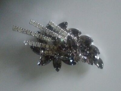 Vintage 1940s 1950s Diamond Paste & Smoky Grey Glass Stone Set Brooch