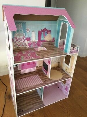 KIDS Wooden Doll House - Girls Large Toy Pretend Play Dollhouse