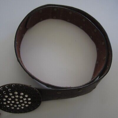Ladies Brown Leather Belt with Studs & Diamante Oval Buckle 106cm long Vintage