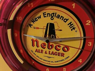 Nebco New England Beer Bar Advertising Man Cave Neon Wall Clock Sign
