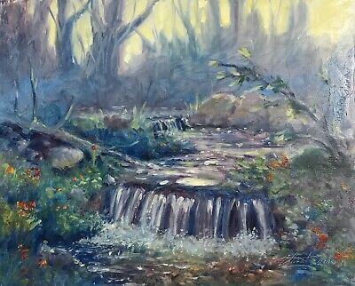 Original oil painting Sunset forest Landscape signed waterfall art originals