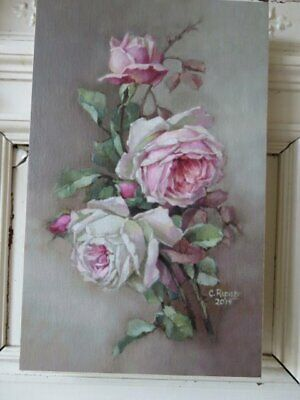 GORGEOUS Christie REPASY Canvas Print White PINK ROSES Called Old Roses