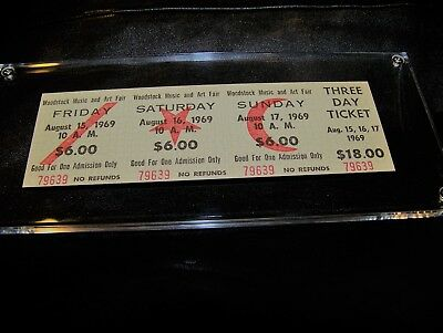 MINT ORIGINAL WOODSTOCK 1969 $18 AUTHENTIC 3 DAY TICKET COMPLETE w/ STUB #79639