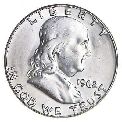 Choice Unc BU MS 1962 Franklin Half Dollar - 90% Silver - Tough Coin! *009