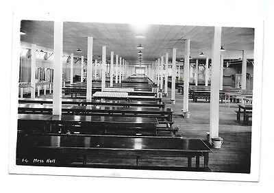 1944 Real Photo Postcard RPPC ~ Mess Hall ~ Farragut Naval Station, Idaho
