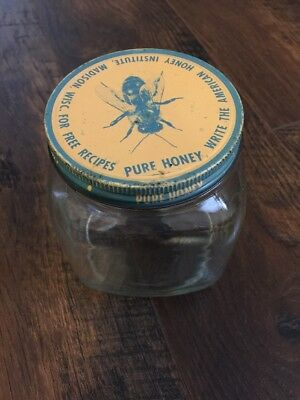 Antique Vintage Bee Pure Honey Glass Jar Canister Duraglas 1940s American