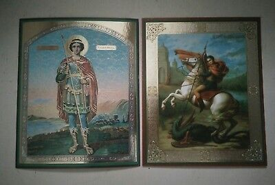 RUSSIAN ICONS St. George -Teacher St.George fighting dragon LITHOGRAPHY
