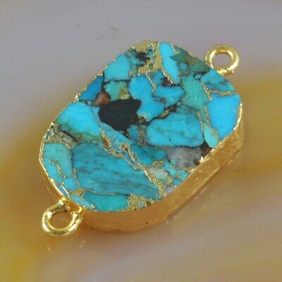 Blue Copper Turquoise Connector Gold Plated H131015