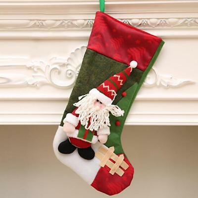 Christmas Stocking Gift Bag Santa Snowman Sock Candy Bag Xmas Decor BS