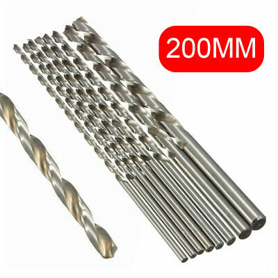 HSS Extra long 200mm Twist Foret forage Bit tige droite Outil 2-10mm Drill Bit