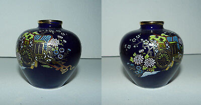 Beautiful Small Asian Blue Vase - Hand Applied Gold & Enamel Decoration
