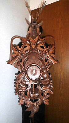 giant vintage cuckoo clock,orig germay regula 8 day clock hand carved 100 cm