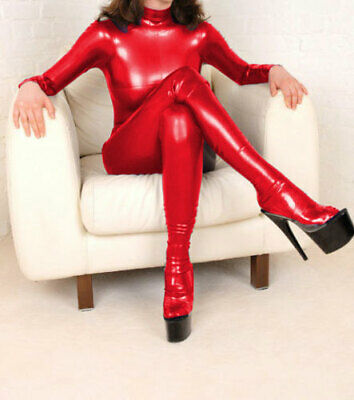 d70331fe649a70 New 100% Latex Rubber Women Red Catsuit Tights Sexy Comfortable Size S-XXL