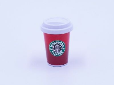 Dollhouse Miniature Kitchen / Grocery / Drink - Coffee Starbucks Red 1.8cm