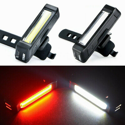 Set USB Rechargeable LED Bike Tail Safety Warning Light lamp Bar Rear Wide Beam