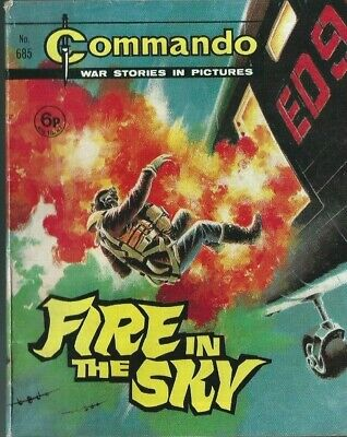 Fire In The Sky,commando War Stories In Pictures,no.685,war Comic,1972