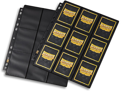 Dragon Shield Non Glare Double sided Black Side Loader Pages 18 pockets