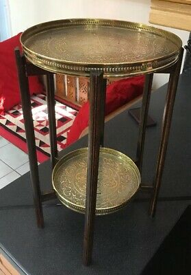 Antique Vintage Small Size Double Benares Islamic Calligraphy Brass Topped Table