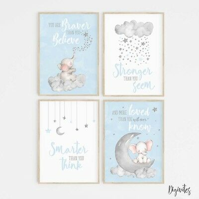 Baby Boy Nursery Wall Art Decor Prints. Elephant, moon clouds, Stars. Set of 4