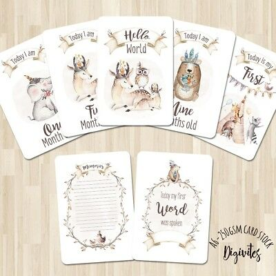 Unisex Baby Milestone Cards, Baby Photo props, Woodland Animals, 28 card set