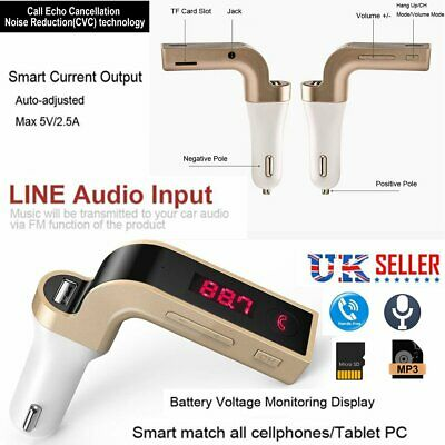 Wireless Bluetooth Car MP3 Player FM Transmitter Radio LCD SD USB Charger Kit UK