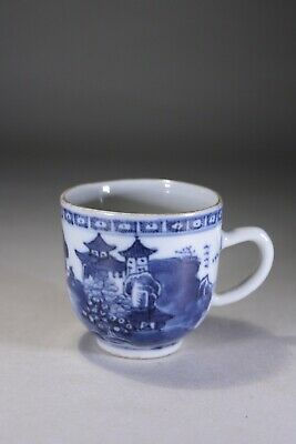 Antique Chinese Porcelain Blue & White Coffee Cup Pagoda & River