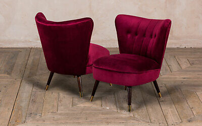 Pair Of Wine Red Velvet Cocktail Chair With Button Back Colourful Feature Chairs