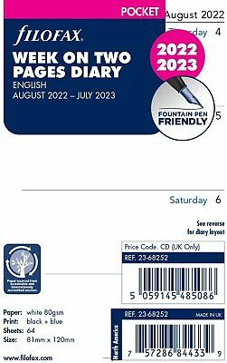 Filofax 2019-2020 Pocket Size Academic Mid Year Diary Week on Two Pages 20-68252