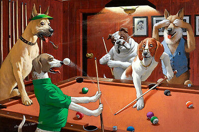 HD Print Dogs Playing Billiards Oil painting Art Giclee Printed on canvas P779