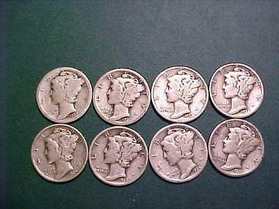 Lot 4769 Mercury Silver Dimes $ 3.00 Face Mix Dates 30 Dimes All Full Dates