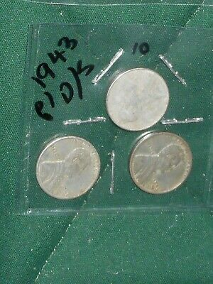 Three 1943 Steel Lincoln Wheat-Back Pennies ... From P, D & S Mints