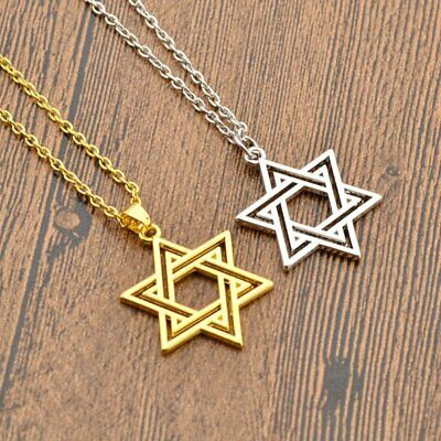 Punk Hexagram Star Of David Pendant Necklace Chain Solomon Israel Women Mens New