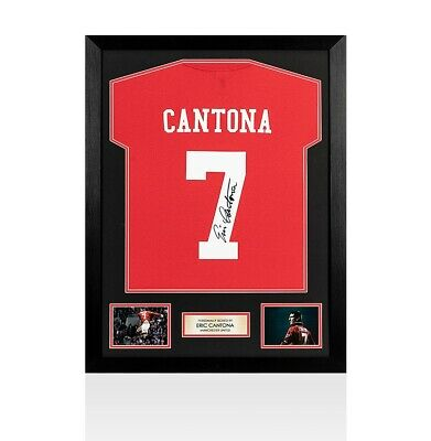Framed Eric Cantona Signed Number 7 Shirt - Red Autograph Jersey
