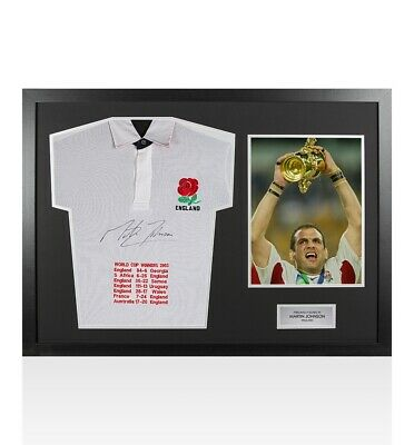 Framed Martin Johnson Signed Shirt England Rugby World Cup Winners 2003 - Panora