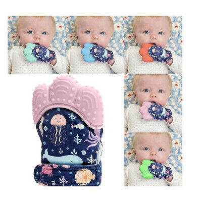 Baby Silicone Mitts Teething Mitten Glove Wrapper Sound Teether Toy Gifts Y3A4