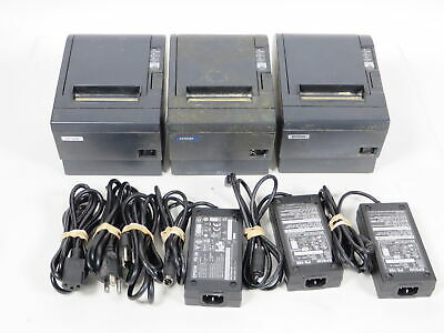 Lot of 3 Epson M129c Direct Thermal POS Receipt Printers w/Power Supplies Tested