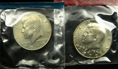 1979 P and D Set of Uncirculated Kennedy Half Dollar BU Mint Cello (B01)