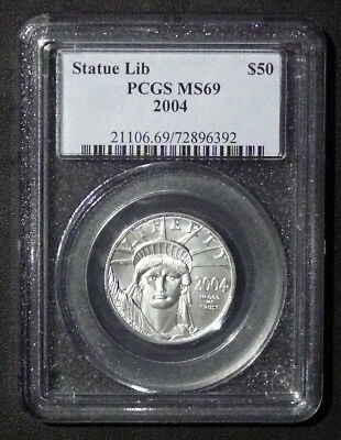 2004 MS-69 1/2oz $50 PLATINUM STATUE OF LIBERTY PCGS
