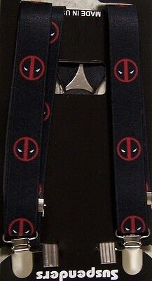 "Suspenders Children & Junior 1""x36"" FULLY Elastic Deadpool NEW Made in the USA"