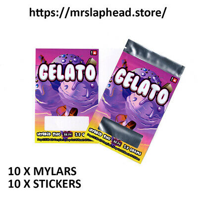 Mylar Bags & Stickers X 10 Pack [ Gelato Cali Labels ]